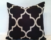 SALE - Hollywood Regency - Mid Century Modern Style Geometric Fretwork Pillow Cover Black & Cream