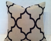 SALE - Hollywood Regency - Mid Century Modern Style Geometric Fretwork Pillow Cover Navy & Cream 16x16""
