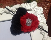 Rhinestone Red and Black Headband