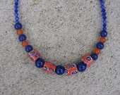 Orange and Navy Blue Glass Milifori Beaded Necklace