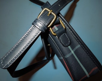Authentic Vintage Burberry Blue Check Cross Body Flap Saddle
