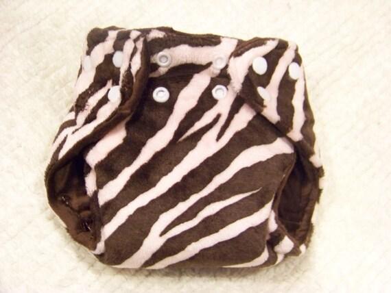 Pink and Brown Zebra Newborn Cloth Diaper