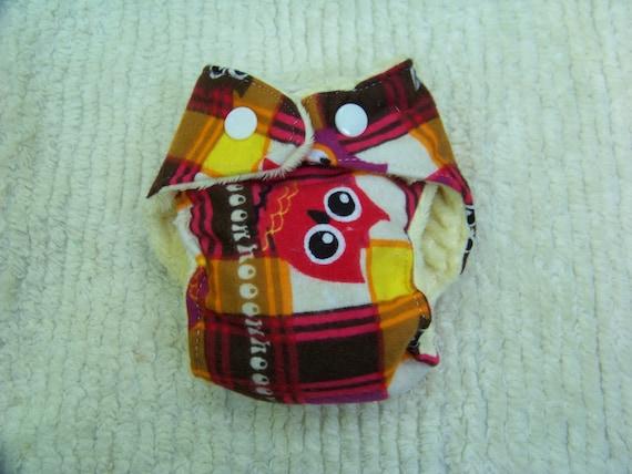 Plaid Owls Preemie Cloth Diaper