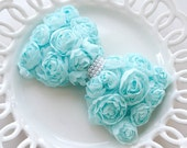 Handmade shabby chic flower Rose trim ribbon bow pearl Baby Girl Wedding Applique 5 colors (sky blue)