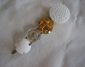 Cute Browns, Black, Gold, White Buttons hair barrette-- Handmade -- Ready to Ship A014