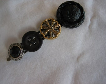 Cute Browns, Gold, White Buttons hair barrette-- Handmade -- Ready to Ship A015