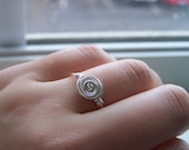 Wire Wapped Rose Swirl  Ring -- Silver Wire Wrapped Ring Any Size