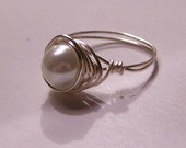 White Glass Pearl Bead Silver Wire Wrapped Ring -- Any Size