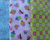 Set of 3- Baby Girl Flannel Burp Cloths
