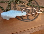 Raw Blue Chalcedony Pendant: Handmade Copper Wire Bail With Vintage Brass Chain.