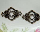 10 pcs raw Brass plating antique bronze   flower Filigree cab base Connector Finding