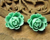 8pcs green resin flower  rose  Cabochons  pendant finding  RF027
