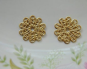 10 pcs raw Brass plating gold  flower Filigree cab base Connector Finding 17mm