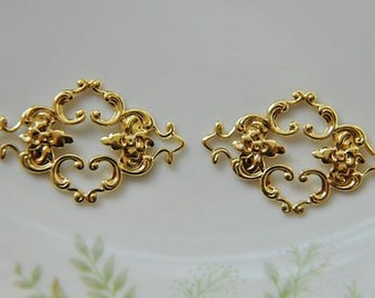 10 pcs raw Brass plating gold  flower Filigree cab base Connector Finding