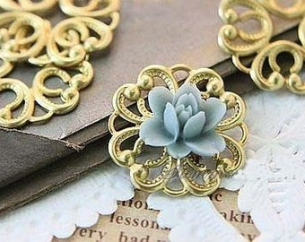 10 pcs raw Brass    flower Filigree cab base Connector Finding 20mm