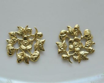10 pcs raw Brass    flower Filigree cab base Connector Finding 14mm