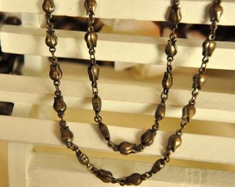2 meter raw Brass  plating antique bronze tulip  handmade chain