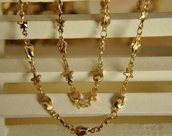2 meter raw Brass  plating gold handmade tulip  and star  chain