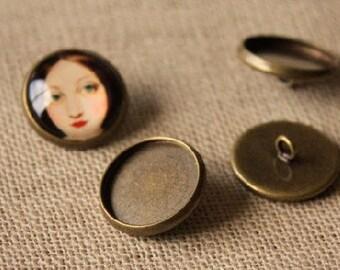 10 pcs raw Brass plating antique bronze button   cab  finding