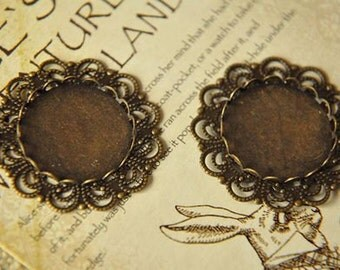 10 pcs vintage style  raw Brass plating antique bronze   cab  finding
