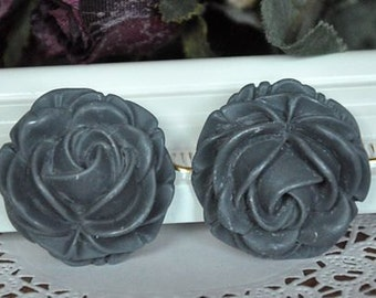4 pcs grey resin flower big rose   Cabochons  pendant finding  RF005