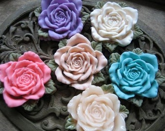 6pcs colorful resin flower  rose with leaf   Cabochons  pendant finding  RF006