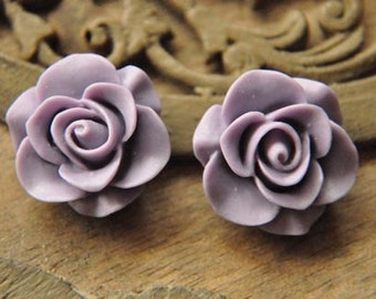 8pcs purple resin flower  rose   Cabochons  pendant finding  RF015