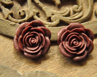 10pcs red wine  resin flower    Cabochons  pendant finding  RF022