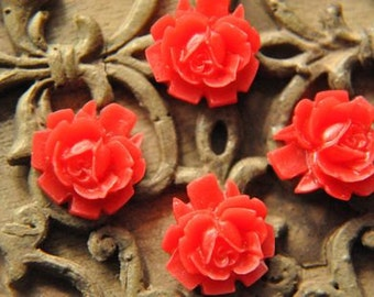 20pcs red   resin flower   Cabochons  pendant finding  RF036