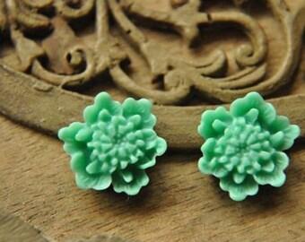 20pcs green   resin flower cab    Cabochons  pendant finding  RF047