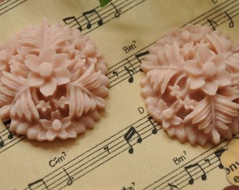 8pcs light pink   resin flower cab    Cabochons  pendant finding  RF049