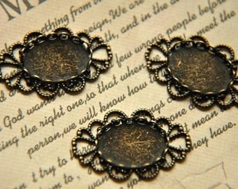 5 pcs vintage style  raw Brass plating antique bronze   cab  finding