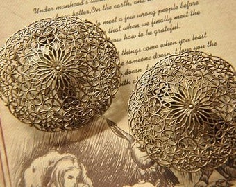 2 pcs vintage style  raw Brass plating antique bronze  filgree hair pin   finding