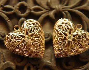 5  pcs  raw brass plating gold  heart  locket pendant finding