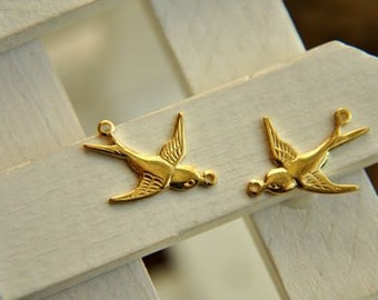 10pcs raw Brass plating gold  swallow Connector Finding