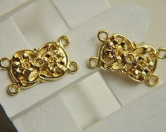 10 pcs  gold plating   flower connecor     pendant finding