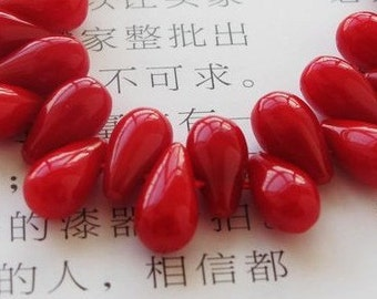 20pcs red coral reef  bead with receptacle finding pendant