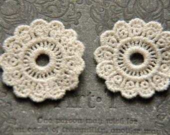 5  pcs white lace  Leisibutie pendant finding