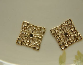 10 pcs raw Brass  plating gold   flower Filigree cab base Connector Finding 20mm