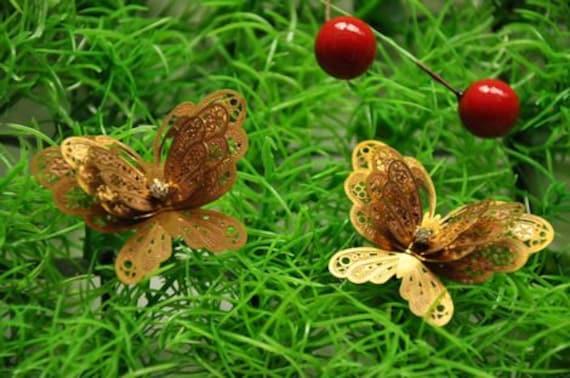 5 pcs raw Brass  butterfly    Filigree pendant  Finding