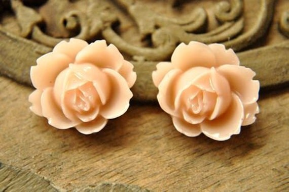 8pcs light pink resin flower    Cabochons  pendant finding  RF027