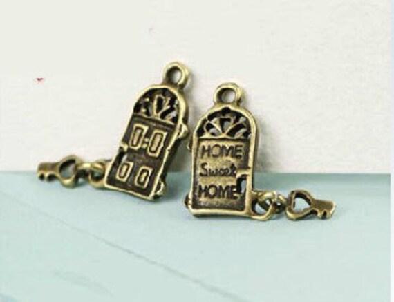 10 pcs vintage style antique bronze  plating love house  pendant finding