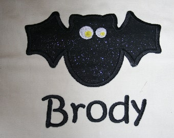 "Trick or treat applique bag ""bat"""