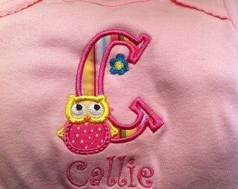Onesie Applique Owl and monogramming