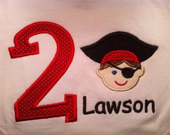 Child's Birthday Pirate applique shirt