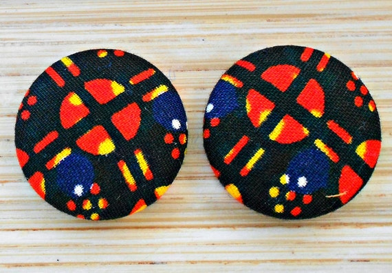 Sunset Orange and Black Button Earrings
