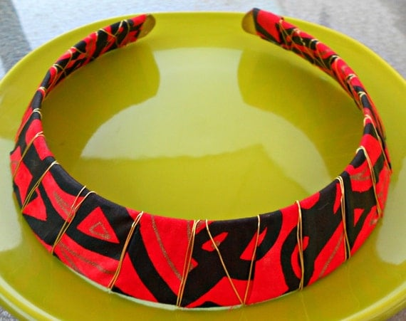 Red Black and Gold Tribal Collar