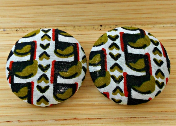 Green and Navy Abstract Tribal Button Earrings