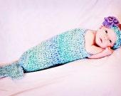 Mermaid Tail Cocoon and Headband Set