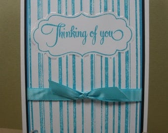Thinking of You, Embossed Turquoise Card